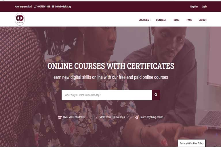 odigital academy website development